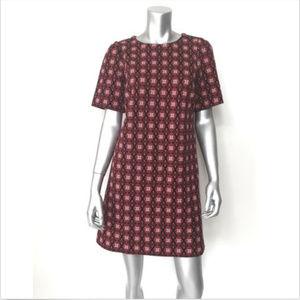 Ann Taylor Loft Dress Sheath Red Geometric Short